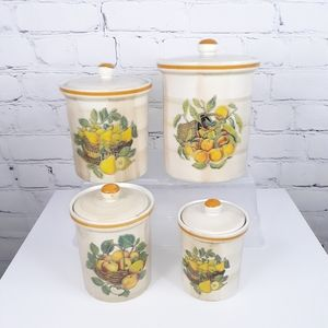 VTG Italian Ceramic Fruit Design Cannister Set (4)